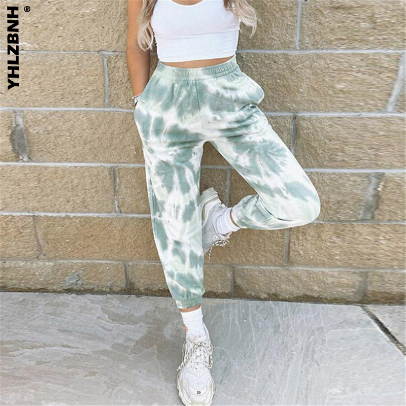 YHLZBNH 2020 Women\u00b4s Tie Dye Color Trousers Casual Sweatpants Running Sport Pants Gym High Waist Pants Home Wear S-2XL