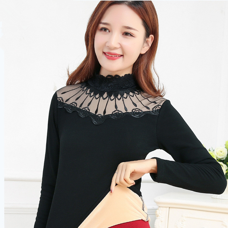 Velvet Thick Thermal Clothing For Women Elegant Black Long Sleeve Turtleneck Women's Thermal Underwear Plus Size Warm Lace Tops