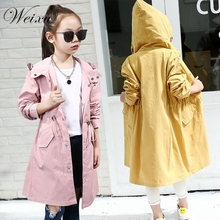Childrens Windbreaker Jacket for Girls New Spring Autumn Kids Yellow Hooded Windproof Jackets Teenager Long Trench Coat Clothes