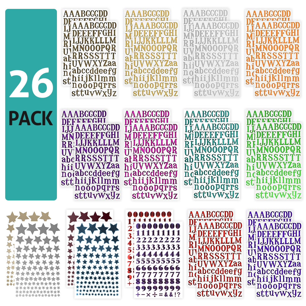 Colorful 26pcs Shiny Stickers Alphabet Star Number Letter Self Adhesive PU Sticker for DIY Greeting