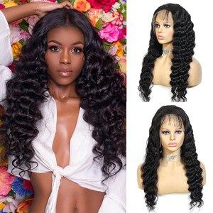 Image 2 - QT 4*4 dantel kapatma peruk insan saçı peruk brezilyalı gevşek derin dalga siyah kadınlar için ön koparıp dantel ön insan saçı peruk