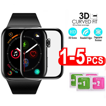 3D Full Cover Screen Protector For Apple Watch 5 4 3 40MM 44MM Not Tempered Soft Glass Film For iwatch 5 Smart Watch accessories 3d curved full cover tempered glass film for apple watch 40mm band flim screen protector for iwatch series 4