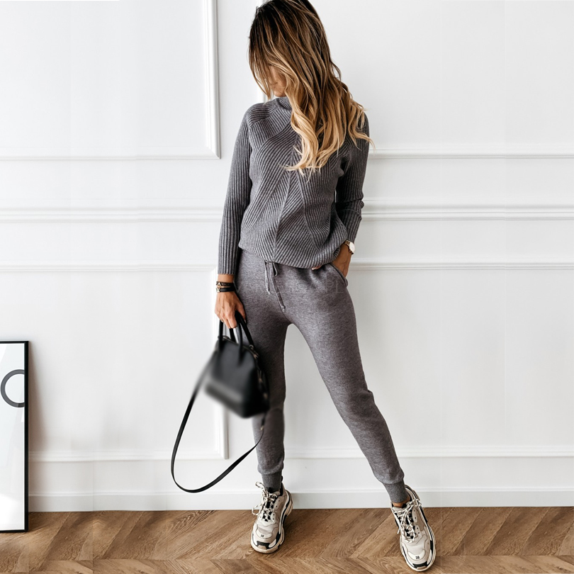 TYHRU Autumn Winter Women's tracksuit Solid Color Striped Turtleneck Sweater and Elastic Trousers Suits Knitted Two Piece Set 2