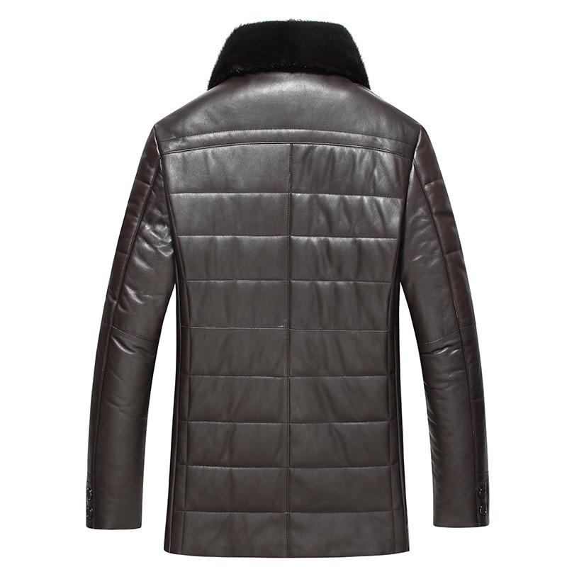 Genuine Leather Jacket Men Winter Sheepskin Coat For Men Down Jacket Real Mink Fur Collar Veste Cuir Homme 1768 KJ3626