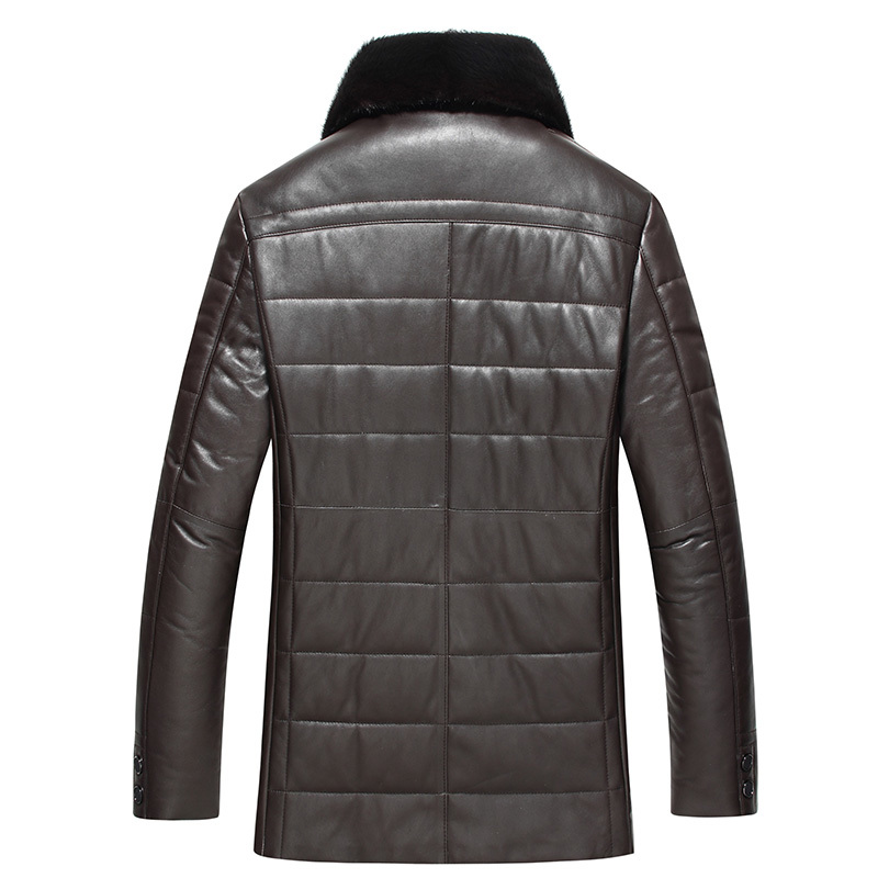 Winter Men Genuine Leather Coat Sheepskin Mink Collar Real Leather Down Coat Mens Leather Jacket Plus Size 1768 LWL1076