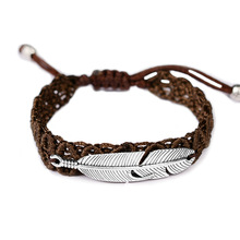 2020 New Leaf Feather Braided bracelets Men Women Vintage Handmade Rope Wrap Woven Bracelet & Bangles for Couple Lovers Gifts vintage leaf rope bracelet for women