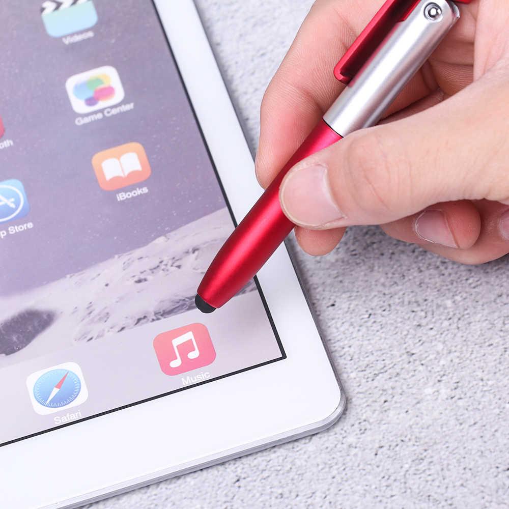 Sáng Tạo Mới Đa Năng Điện Dung Bút 4 Trong 1 GẤP Bút Bi Di Động Điện Thoại Có Đèn LED Chiếu Sáng Màn Hình bút Cảm Ứng Stylus Touch