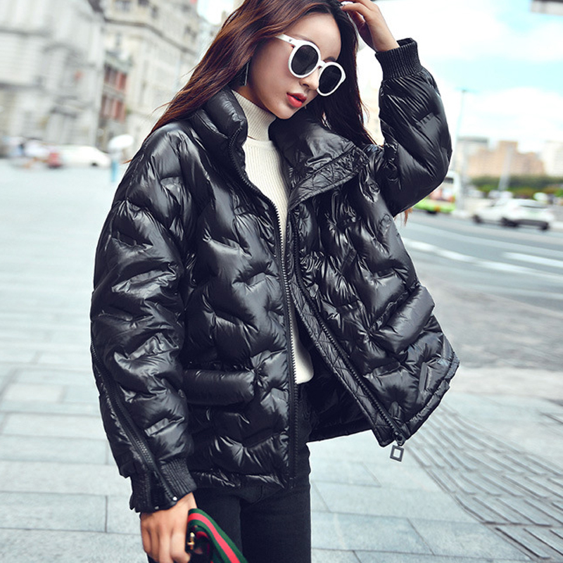 Down   Jacket Female Short New Stand Collar Streetwear Out Wear Fashionable Personality Zipper Loose White Duck   Down     Coat   Women