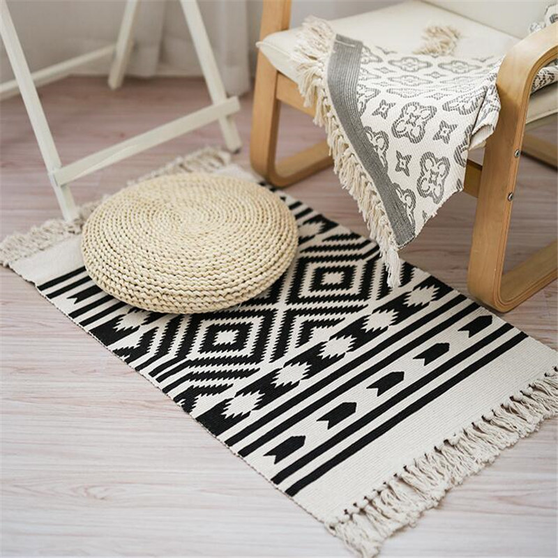 100% Cotton Retro Carpet For Sofa Living Room Bedroom Rug Tassels Yarn Dyed 60x130cm Table Ruuner Bedspread Tapestry Home Decor