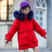 Winter Down Jacket For Girls Hooded Long Girls Winter Jacket Coat 5-14 Years Children Parka For Girl Teenage Outerwear Snowsuit children duck down jacket for boys teenager outerwear hooded girls winter coat thick kids snowsuits long parka 3 6 10 years