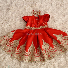 New Girls Lace Dress Red Dresses With Gold Beading For Girls Party Dress cap Sleeve Ball Gown Clothes Photography Props