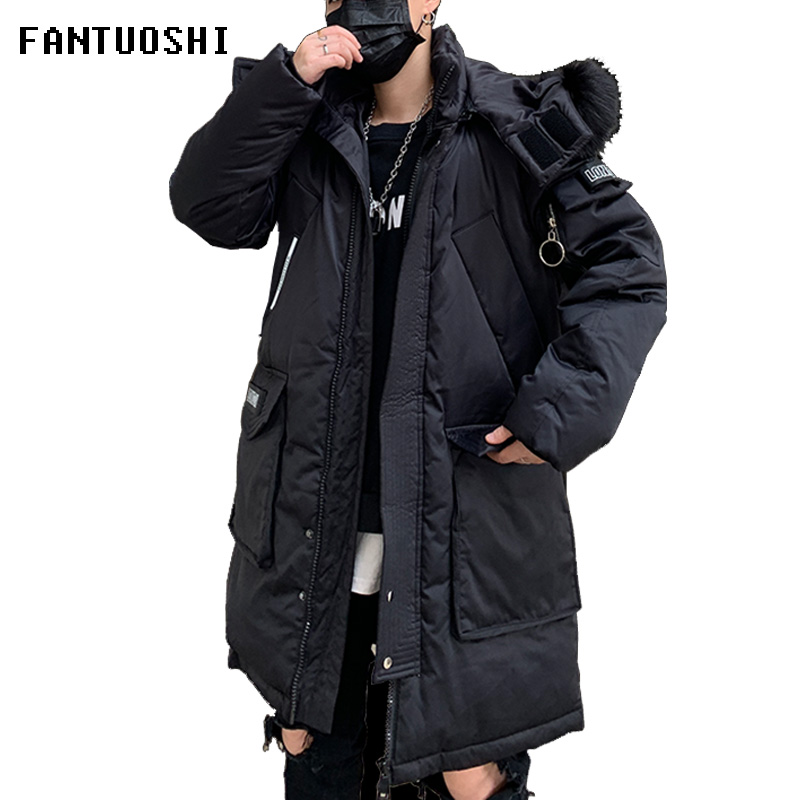 Hot sale Fur Collar Hooded Mens Winter Jacket fashion Thicken Padded Super Warm 2019 Winter Male Casual   Parkas   Long Outwear Coat