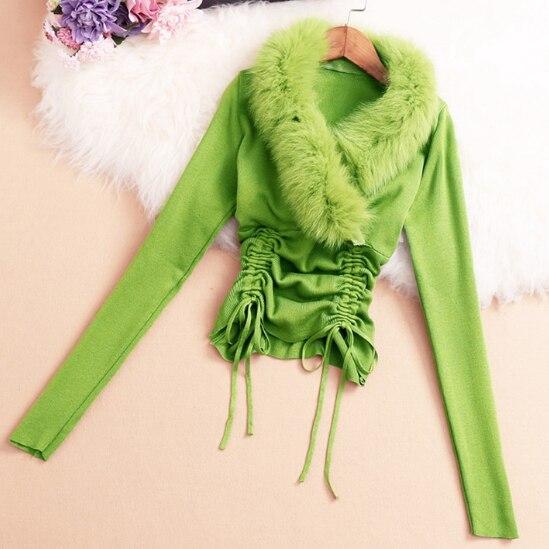 Fur Collar Sweater Women 2019 New Korean Fashion Hairy Collar V Neck Sweater Woman Pleated Tie Belt Waistband Undershirt Slim