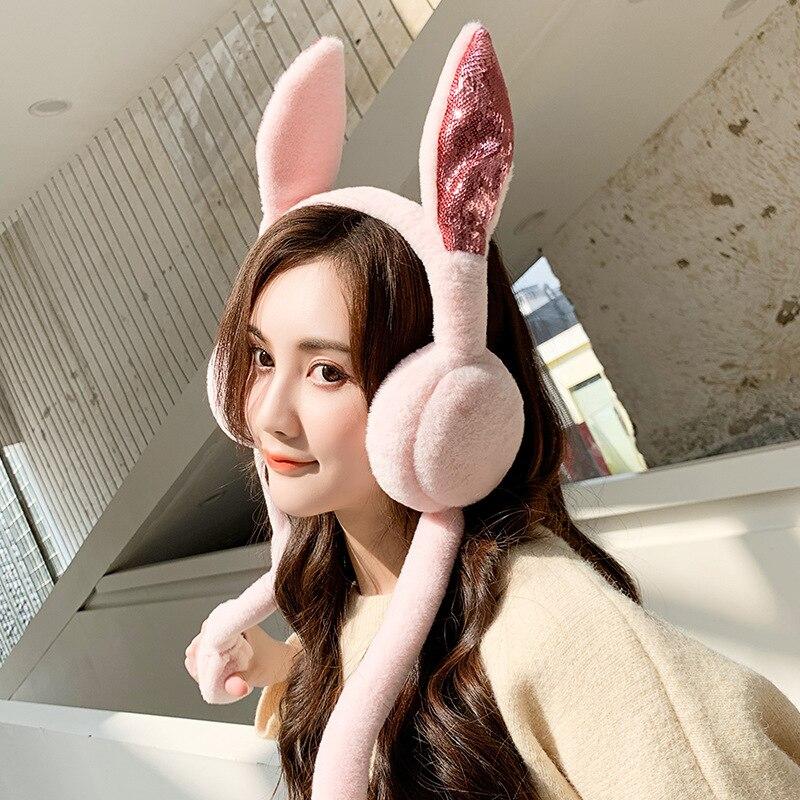 Students Cartoon Sequin Rabbit Eared Earmuffs Warm Thick Plush Korean-style Moving Ear Earmuff