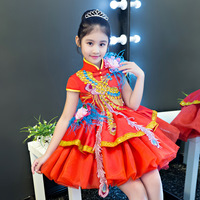 Exquisite Embroidery Phoenix Children Girls Qipao Evening Party Dress Vintage Mandarin Collar Chinese Style Ball Princess Dress