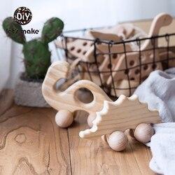 Давайте сделаем деревянный Прорезыватель 1 шт. ПВХ бесплатно Ежик динозавр коляска животное колесо игрушка 4-6 месяцев бук еда класс детские ...