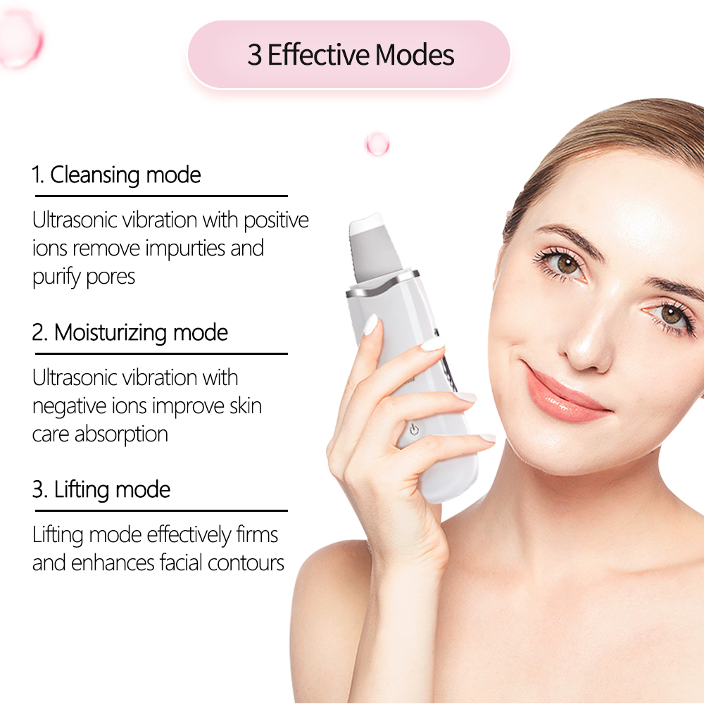 Beauty Star Ultrasonic Face Cleaning  Skin Scrubber Facial Cleaner Skin Peeling  Blackhead Removal Pore Cleaner Face Scrubber