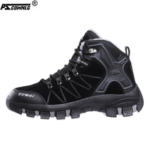 PSCOWNLG Hiking Shoes Men Winter Boots Outdoor Cotton Shoes Leather Mountain Sneakers Anti Skid Snow Warm Boots Man Plush Sport women winter walking boots ladies snow boots waterproof anti skid skiing shoes women snow shoes outdoor trekking boots for 40c