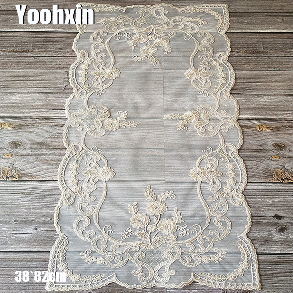 Luxury Beige Mesh Embroidery Bed Table Flag Runner Cloth Cover Dining Lace Tea Tablecloth Placemat Party Christmas Wedding Decor
