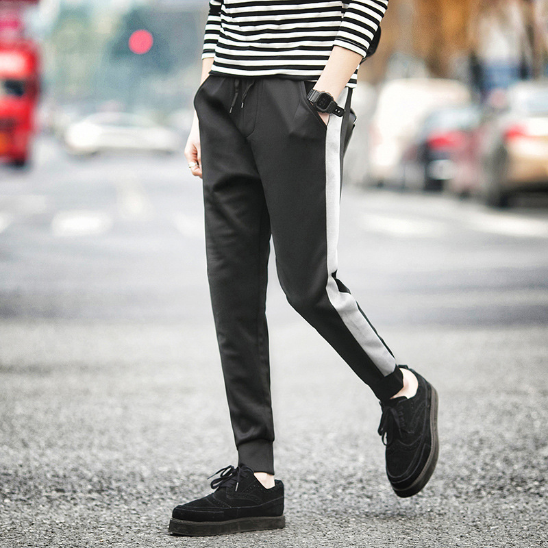Autumn Athletic Pants MEN'S Trousers Closing Elastic Harem Pants Youth Students Slim Fit Skinny Pants Stripes Ankle Banded Pants