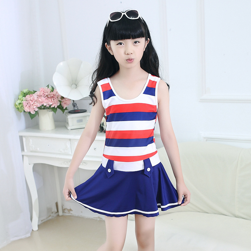 New Style Children GIRL'S Swimsuit GIRL'S Big Boy South Korea Dress-Boxer GIRL'S Students Swimsuit Set