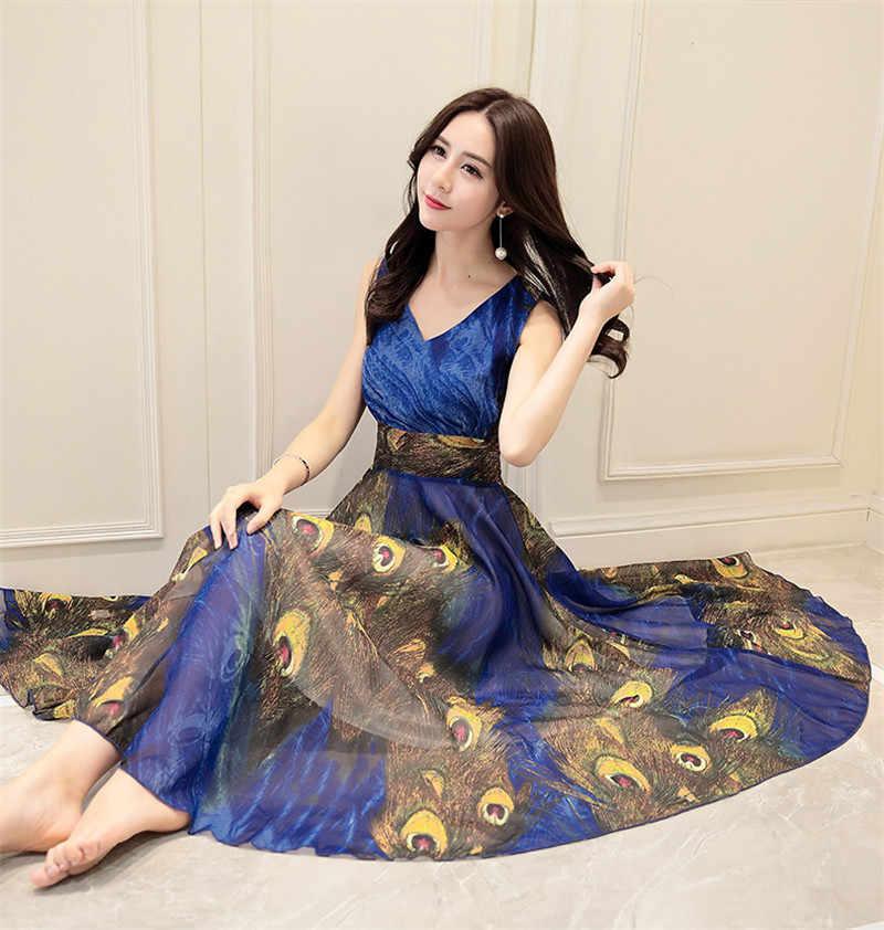 Kleid Strand Böhmischen Chiffon Elegante Sommer Kleider Frauen Druck Floral Kleid Vestido Plus Größe Party Kleider WXF094 es es