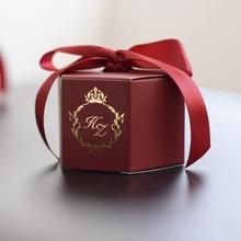 Cajas de caramelos de estilo creativo de vino tinto personalizadas, decoración de favores de boda, suministros para fiesta, caja de regalo de papel para bebé, logotipo DIY