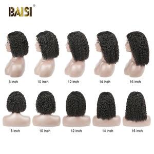 Image 5 - BAISI מתולתל תחרה מול שיער טבעי פאות עם תינוק שיער הודי שיער לא מעובד קצר מתולתל בוב פאות תחרה מול שיער טבעי פאות