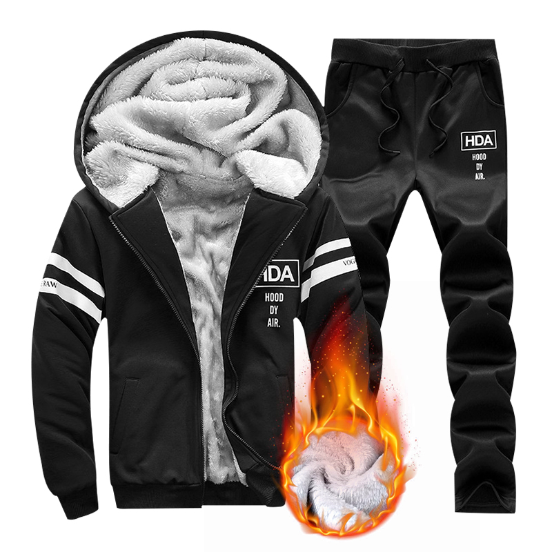 Male Hoodie Pants Tracksuit Sweatshirts-Set Sportswear Warm Autumn Winter Mens Casual