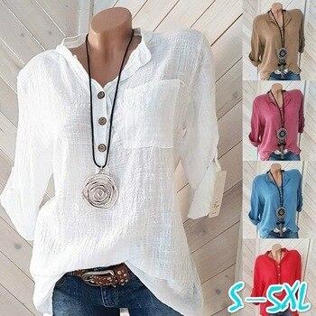 Damskie bluzki 2019 koszule jesienne Casual długi guzik na rękawie V Neck jednolite, luźne koszulki topy damskie bawełniana lniana bluzka Plus rozmiar 5XL
