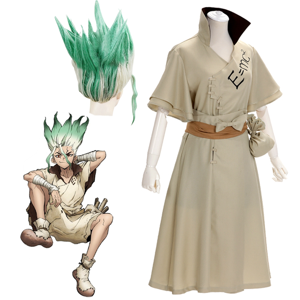 Anime Dr. Stone Senku Ishigami Costume Cosplay Adult Men Senku Uniform Outfit Wig Halloween Carnival Party Suit Full Set