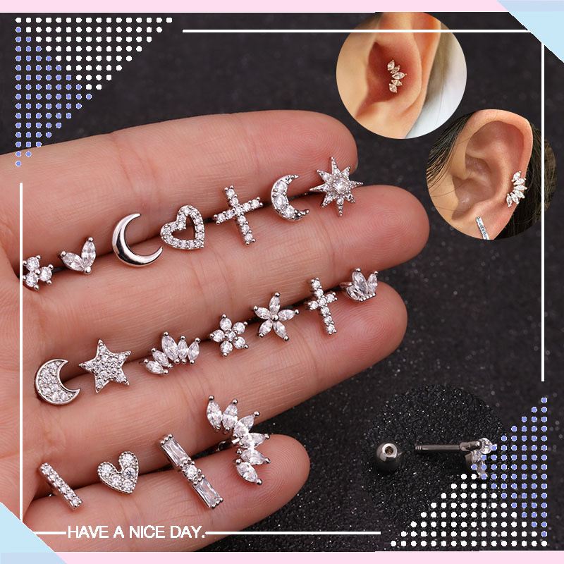 1 Piece Gold White Moon Star Flower Heart Cross Marquise Steel Barbell CZ Tragus Diath Cartilage Helix Rook Piercing Earring