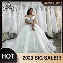 Роскошное Свадебное платье принцессы с бусинами 2020, свадебное платье с аппликацией, кружевное бальное платье, иллюзия, свадебное платье на заказ XZ03