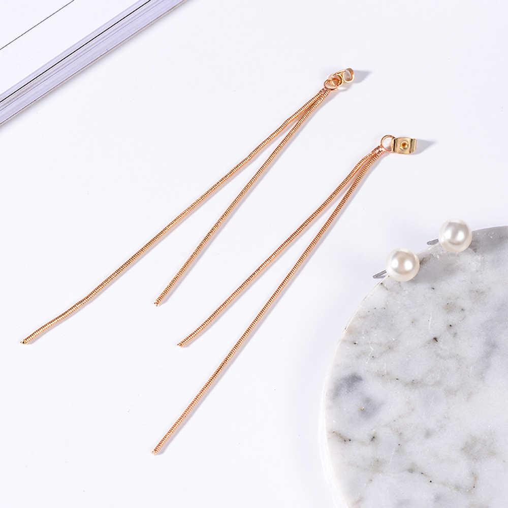 Pendientes Flecos 2019 coreano elegante mujer largo pendiente perla CZ encanto colgante serpiente Pendientes de borla con cadena Simple perla oreja para