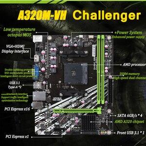 Image 2 - MAXSUN AM4 Challenger A320M VH R2.0 AMD เมนบอร์ด MATX Dual Channel DDR4 1000M LAN SATA3.0 USB3.1 VGA HDMI 5 เฟส mainb