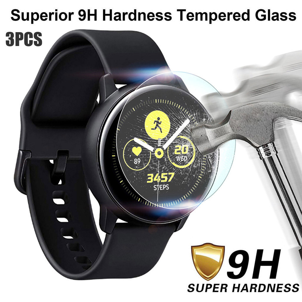 3pcs Tempered Glass For Samsung Galaxy Watch Active 2 44mm Smart Watches Vidrio Templado Screen Protector Film Bubble Free 9h