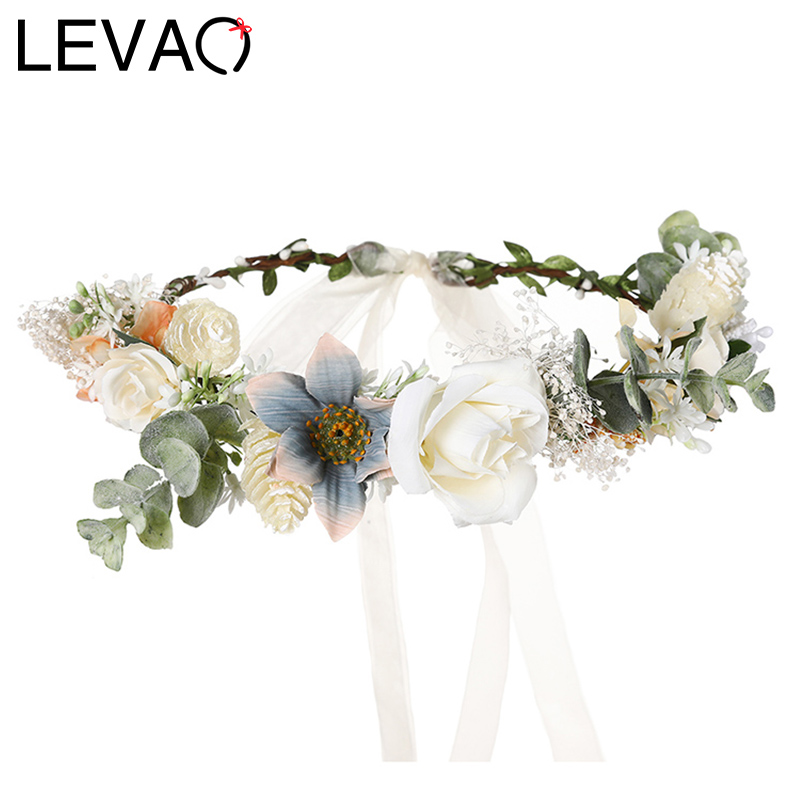 LEVAO 2020 Spring Garland Girls Hair Band For Women Corolla Wreath Headband Fowers Hairband Boho Wedding Bride Hair Accessories