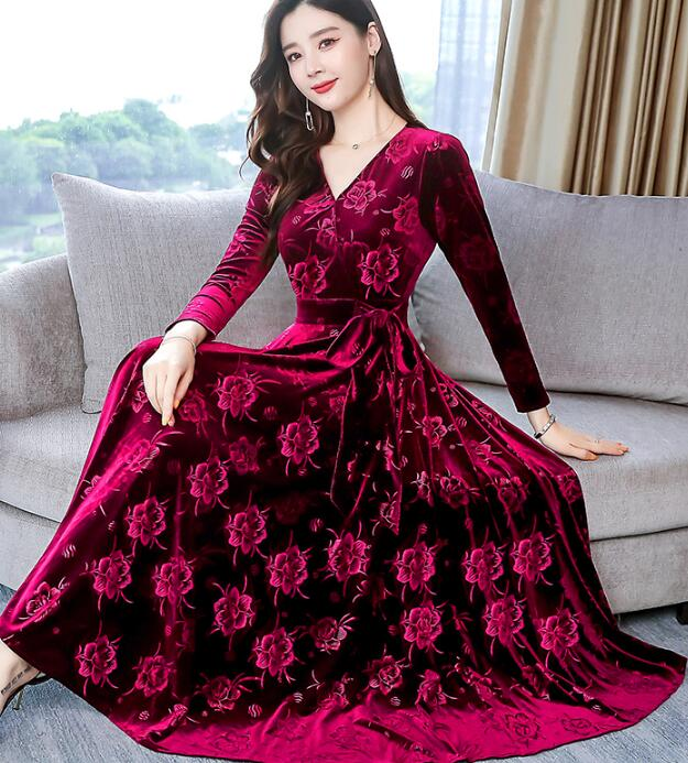 2019 Autumn New Arrival High Quality  Elegant Hot Sale V Collar Woman Pleuche Long Dress Plus Size M-3XL