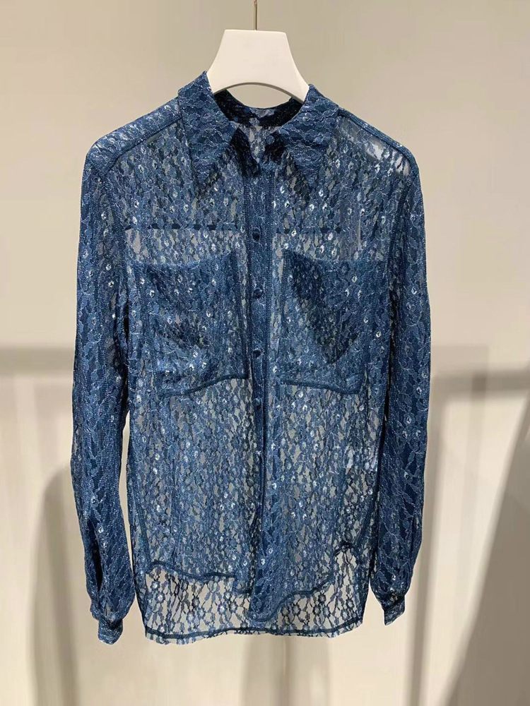 Romantic lady 2019 openwork lace shirt long long sleeve kimono blusas mujer de moda plus size shirt women - 3