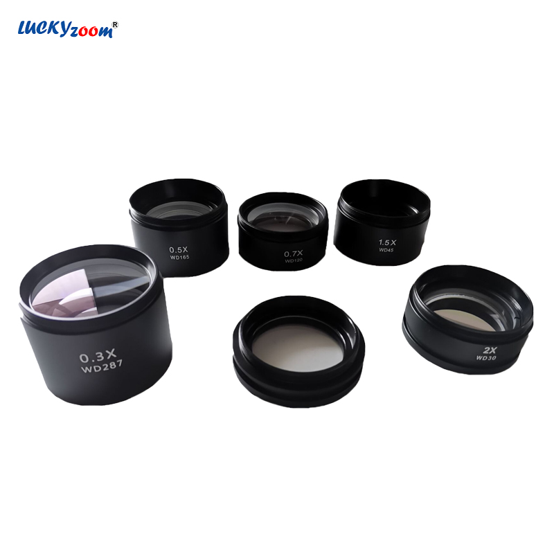 Objective Lens Microscope 0.3X 0.5X 0.7X 1X 1.5X 2.0X Barlow Lens Stereo Microscope Objective Len Microscopio Accessories