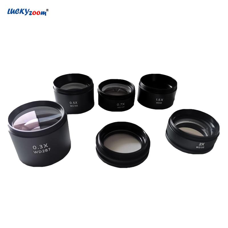 Objetivo lente Microscopio 0.3X 0.5X 0.7X 1X 1.5X 2.0X Barlow lente Microscopio estéreo objetivo Len Microscopio Accesorios