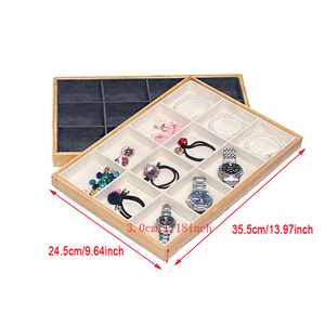 Image 2 - Bamboo Velvet Jewelry Display Tray Ring Earring Necklace Bracelet Pendant Display Organizer Jewelry Storage Box