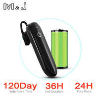 M&J Bluetooth Wireless Earphones Single-Ear, Hands Free Business Bluetooth Headset 24 Hours Playing Time for Business/Driving