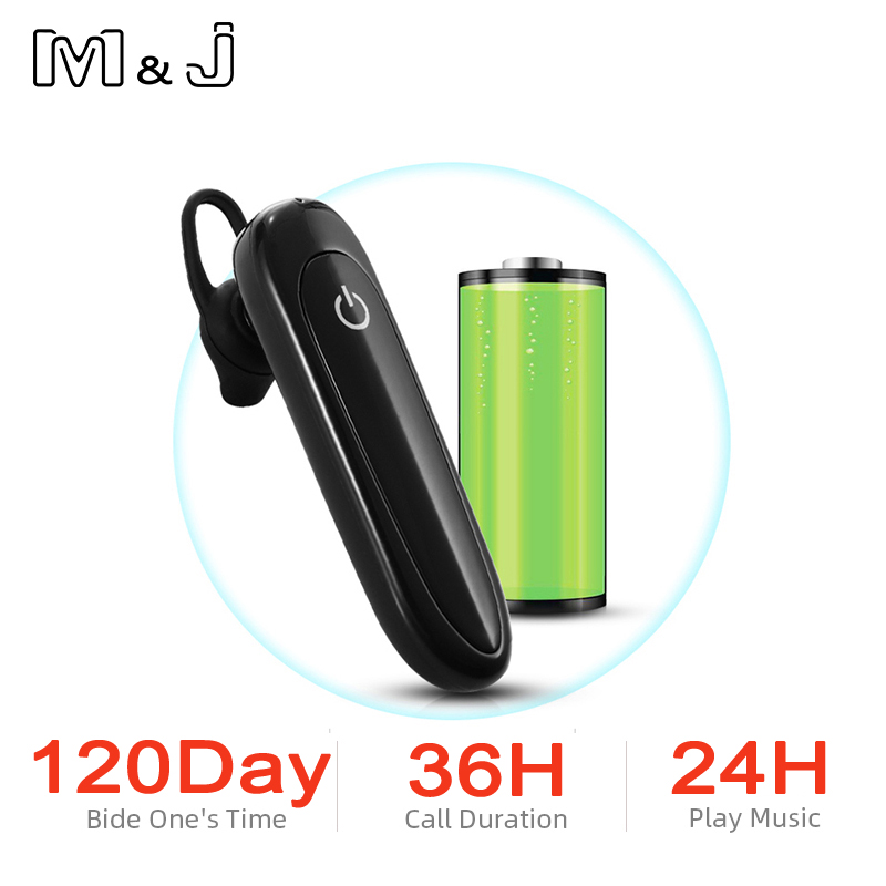 M&J <font><b>Bluetooth</b></font> Wireless <font><b>Earphones</b></font> Single-Ear, Hands Free Business <font><b>Bluetooth</b></font> Headset 24 Hours Playing Time for Business/Driving image