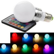 Светодиодный лампы светильник лампа 16 Цвета 3W E14+ 24 ключ пульта дистанционного управления