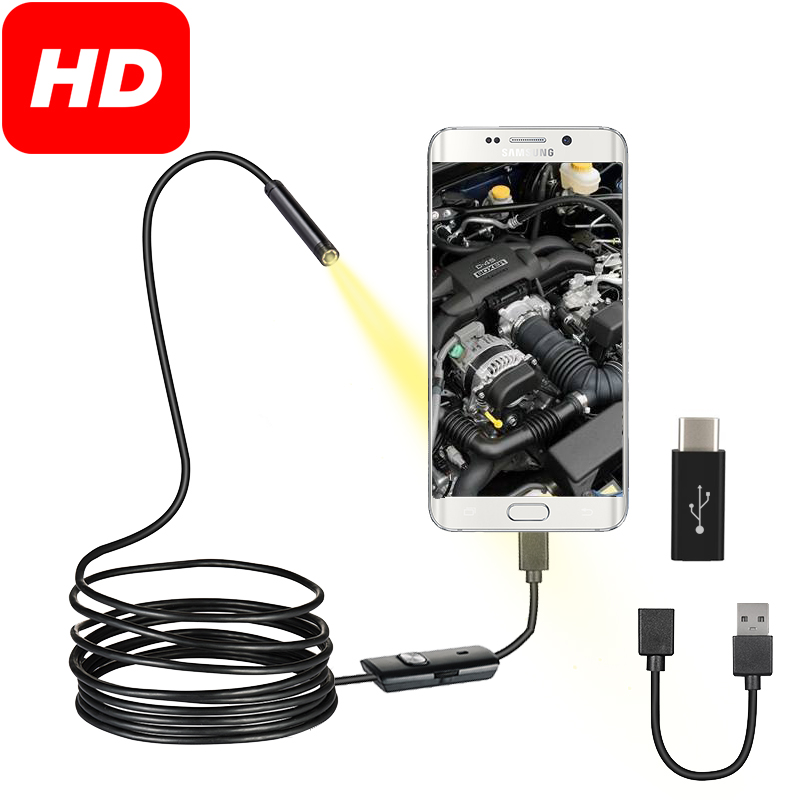 USB Endoscope Camera Flexible IP67 Waterproof 6 Adjustable LEDs Inspection Borescope Camera Micro USB OTG Type C For Android PC