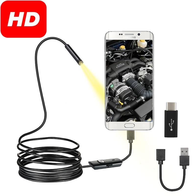 Гибкая Водонепроницаемая usb-камера-эндоскоп IP67 с 6 регулируемыми светодиодами, Инспекционная камера-Бороскоп с Micro USB OTG Type C для Android и ПК