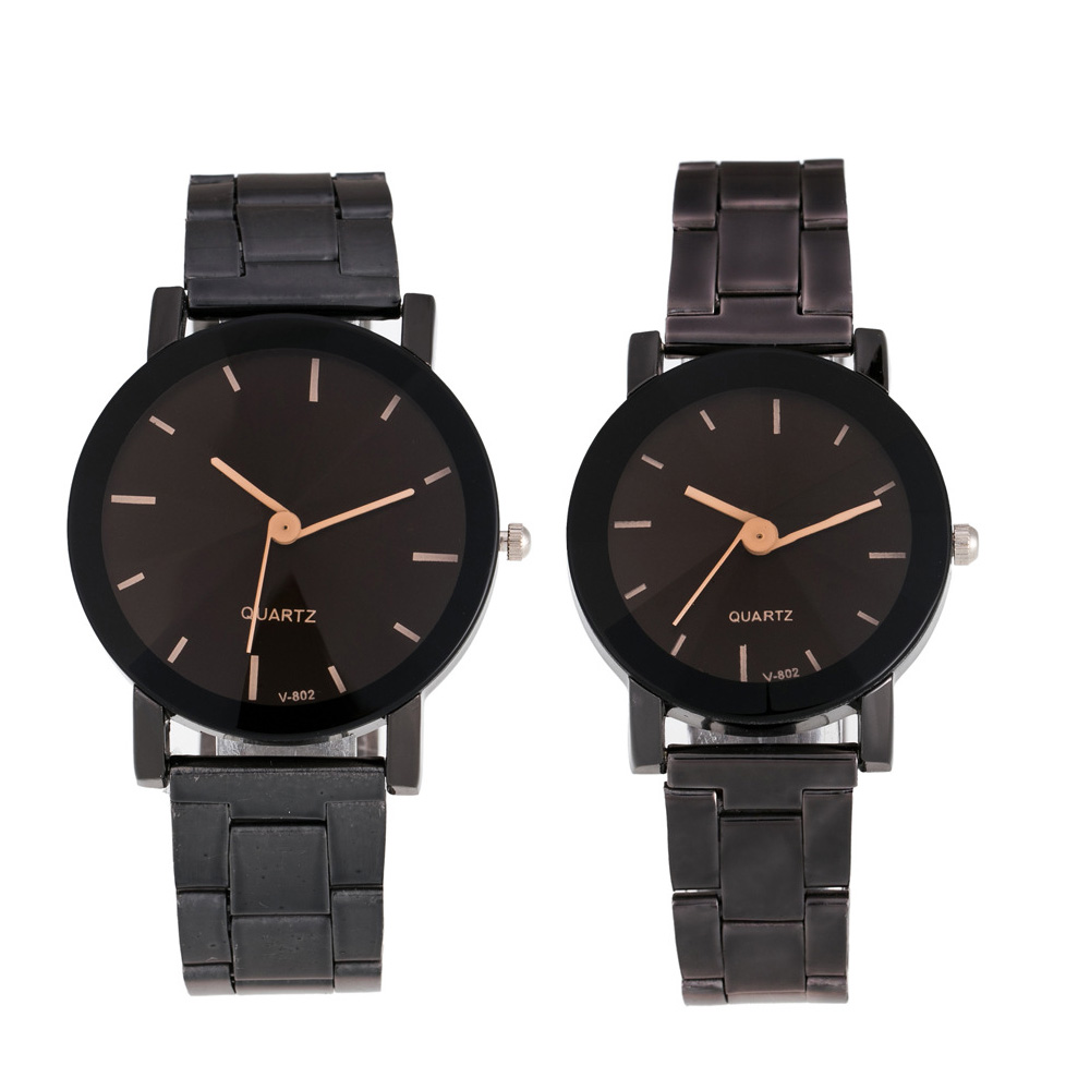 Top Plaza His And Hers Valentine's Day Gift Couple Watch Full Black/Brown Bracelet Watch Simple And Elegant Design