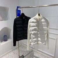 Uomini di alta qualità Stand Up Collar piumini Cardigan in lana lavorato a maglia Patchwork 90% White Duck Down Front Winter Casual cappotti da uomo