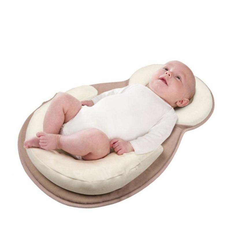 Soft Baby Cribs Pillow Correct Anti-Head Newborn Side Sleeping Positioning Shaped Anti-Overflow Milk